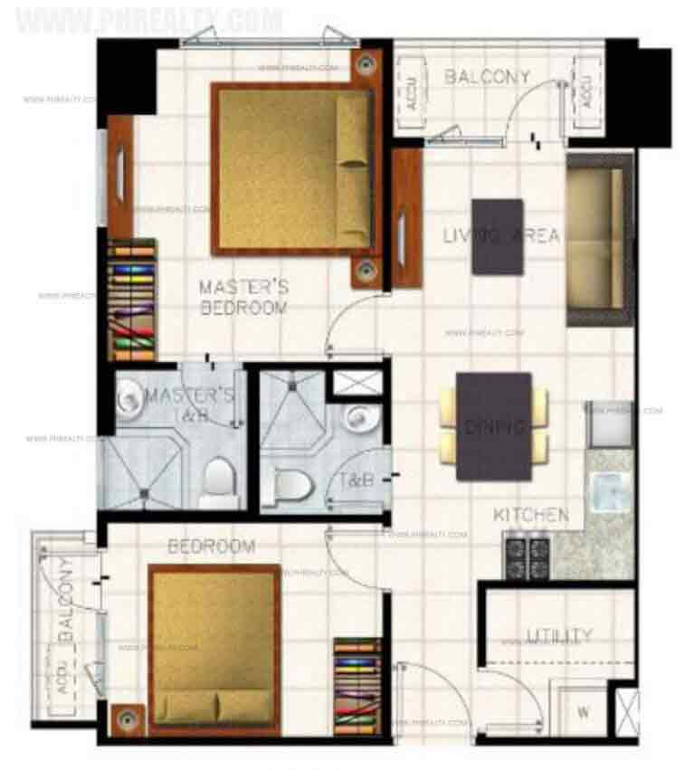 The Ellis Makati - Unit Lay-outs 2 BR End Unit With Balcony